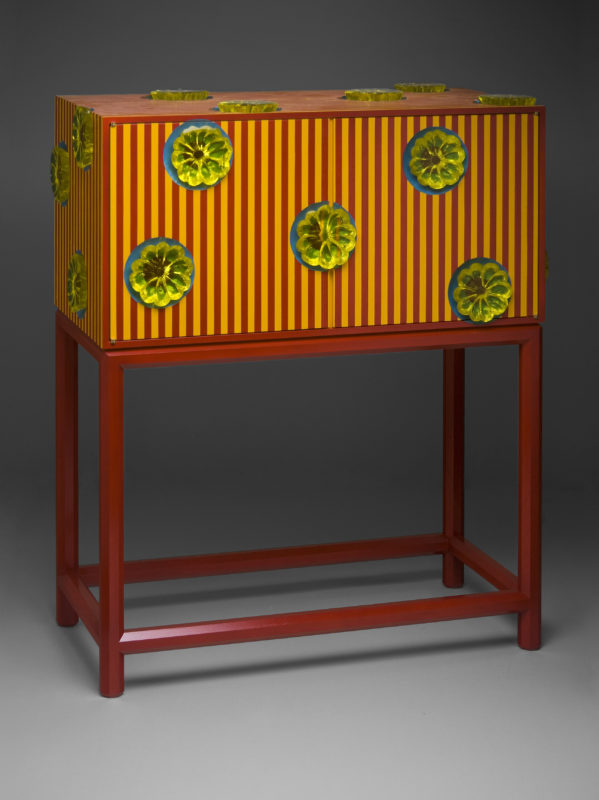Red & Yellow Striped Cabinet on Stand
